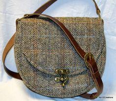 Harris Tweed Saddle Bag in Light Brown Herringbone. by Ten10Creations on Etsy