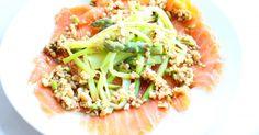 Dit is ook lekkerZalm op zoutsteen met Aziatische groenten Rauwe zalm met tapenade van pijnboompittenCarpaccio van sint-jacobsvruchtenSushi in a bowlFrittata met courgette, groene asperges en mozzarellaDelen