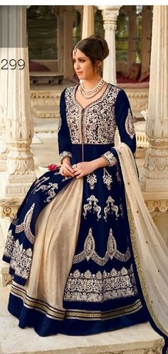 Royal Blue Velvet Silver Designer Anarkali Salwar Suits Golden, silver embroidery thread work all around the suits full sleeves, floor length long anarkali semi stitched dress, comes with off white Chiffon Dupatta.