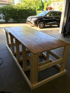 Post with 256943 views. I built a mobile workbench Garage Workbench Plans, Table Saw Workbench, Workbench Designs, Mobile Workbench, Woodworking Bench Plans, Woodworking Workbench, Woodworking Shop, Workbench Ideas, Workbench Organization