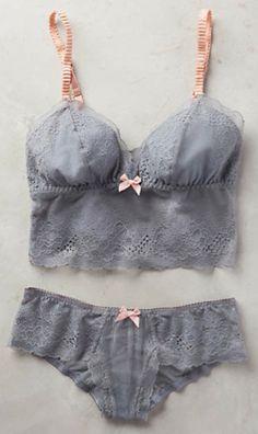 pretty grey lace lingerie set