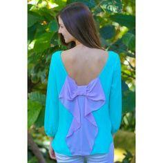 Just Too Cute Bow Back Blouse-Aqua/Orchid - $38.00