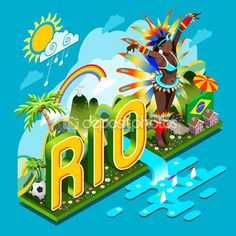 Olympic Rio Brasil 2016 Brasil Rio Summer Games Infographic.Sport Event on Smartphone or Tablet Device.Landmarks Signs and Symbols Soccer Field Carnival Brazil Flag.3D Isometric — Stock Vector © aurielaki #111561590