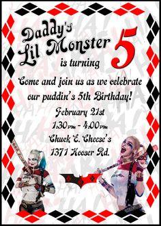 Invitación de Harley Quinn por ARCTCDesigns en Etsy