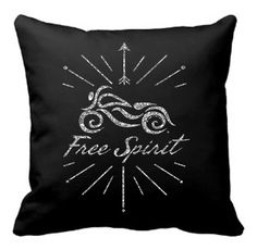 "Free Spirit Sparkling Motorcycle Throw Pillow 14""x14"" Includes Pillow Insert *"
