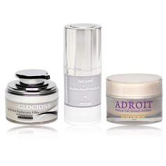 Omiera Labs Illumizone Eye Serum, Adroit Hair Growth Inhibitor, and Glocione Skin Brightening Cream Gift Set