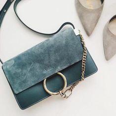 Baby blue suede purse