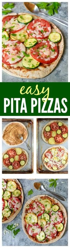 Easy Pita Pizzas. A healthy 20 minute meal perfect for busy nights, after school snacks, and lunches too