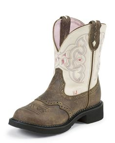 Women's Barnwood Brown Cowhide With Perfed Saddle Boot - L9924  $79.95