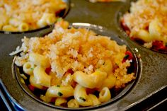 Yummy Mac & Cheese in a muffin tin. Makes the CUTEST, little individual servings!