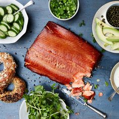 Hot-Smoked Salmon (smoked over hickory or mesquite along with spices) with Tarragon Crème Fraîche Recipe