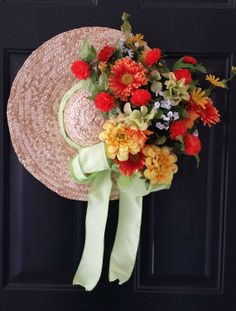 Straw Hat Wreath Spring Wreath Easter Wreath by KraftsByViktorija, $79.00