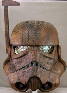 Stormtrooper helmet in the style of traditional Maori carving. #StarWars