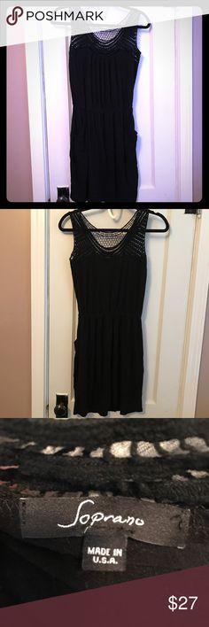☀️Crocheted Top Dress  CoverUp Pretty black dress or coverup with crocheted detailing on top. Has pockets on side and drawstring at waist. Could be worn as a dress or used as swimsuit coverup. Worn a few times and is in great condition! Soprano Dresses Mini