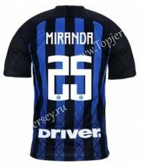 1908d7038 2018-19 Inter Milan Home Black and Blue  25 (MIRANDA) Thailand Soccer