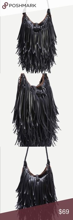 Vegan leather fringe bag Vegan leather fringe bag. Width is 8.5 in x length is 11.2 in. Woven buckle accent. New with tags boutique. Never worn. Ships within one week. LittleNicety Bags Hobos