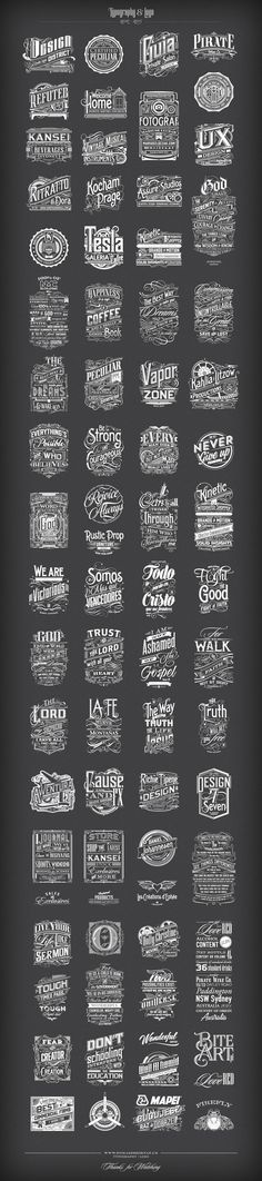I'm an atheist, so I could do without all the evangelism in here. Still, this is some damn fine hand lettering/typography work. The Firefly logo in the bottom right corner is my fav. Cool Typography, Typo Logo, Vintage Typography, Typography Letters, Logos Vintage, Typography Served, Vintage Graphic, Vintage Type, Web Design