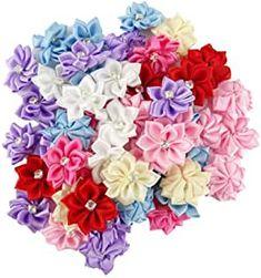 Amazon.com : ribbon flowers Satin Ribbon Flowers, Fabric Ribbon, Fabric Flowers, Wedding Ornament, Craft Wedding, Wedding Ideas, Ribbon Crafts, Flower Crafts, Rhinestone Crafts