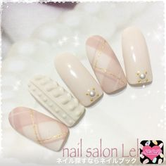 Time For The Popular Fancy Sweater Nails This Christmas! Xmas Nails, Holiday Nails, Christmas Nails, Plaid Nails, Sweater Nails, Fancy Nails Designs, Nail Art Designs, Gem Nails, Love Nails