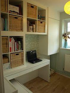 Materials: IKEA Expedit, Micke Desk, Branas Baskets, Hemnes Shoe storage
