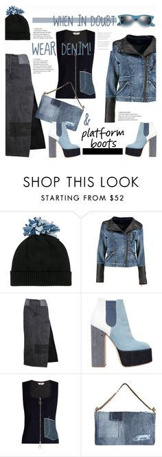 """""""Denim Day"""" by snowbell ❤ liked on Polyvore featuring Federica Moretti, Boohoo, Laurence Dacade, Edun, Dsquared2, Ray-Ban and PlatformBoots"""