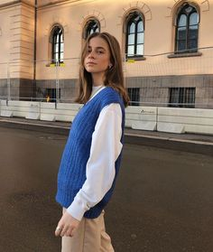I'm c h i l l a x / deep blue ❀ Trendy Outfits, Fall Outfits, Cute Outfits, Fashion Outfits, Passion For Fashion, Love Fashion, Womens Fashion, Style Fashion, Sweater Vest Outfit