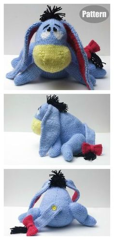 Amigurumi Eeyore Donkey Knitting Pattern Eeyore has been a favorite to many and has a long line of adoring fans. With this Eeyore Knitting Pattern, you can make one of the cutest Eeyores. Baby Knitting Patterns, Knitted Doll Patterns, Knitted Dolls, Crochet Toys, Crochet Patterns, Free Christmas Knitting Patterns, Bear Patterns, Crochet Bear, Crochet Things