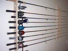 Solid Oak Fishing Pole Rack Holds 10 Poles by FallenWoodsInc, $30.95