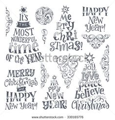 Vector set of holidays lettering and ornamental elements. Merry Christmas and Happy New Year text lettering for invitation and greeting card, prints and posters. Hand drawn calligraphic design