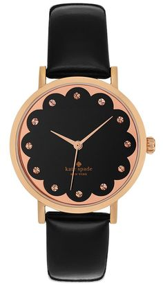 might have to gift this watch to myself this year! kate spade new york Women's Metro Black Patent Saffiano Leather Strap Watch 34mm 1YRU0583 - Watches - Jewelry & Watches - Macy's #watch #sponsored #rosegold #present