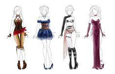 Set of outfits- 1 - closed by LotusLumino on DeviantArt