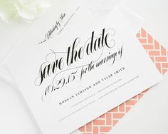Save the Date Cards with Peach Envelope Liner