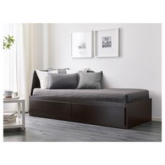 Flekke Day Bed Frame With Drawers Black Brown X And Hemnes Daybed Frame With Drawers Ikea Sofa Single Bed - Ada Disini Large Cushion Covers, Large Cushions, Lit Banquette 2 Places, Day Bed Frame, Cama Ikea, Bed Slats, Fluffy Pillows, Bedroom Ideas, Home Decor