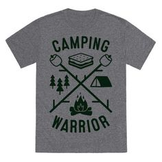 """Get out your camping gear and get out into nature to be one with the wilderness. This """"Camping Warrior"""" camping design is perfect for a nature lover, tree hugger, camper, camping trip, gifts for campers, roasting marshmallows, making smores, hiking, tent pitching, campfires, wanderlust, summer camping, fall camping, and camping till you can't camp no more!"""