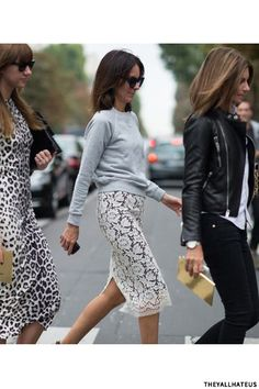 lace pencil skirt paired with a grey sweatshirt. BRILLIANT