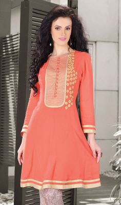 Tomato Faux Georgette Kurti with Thread Work Pep up your confidence and beauty dressed in this tomato faux georgette kurti. The lovely moti, patch and thread work through the dress is awe-inspiring. #GeorgetteLongKurti  #LatestDesignerKurtis