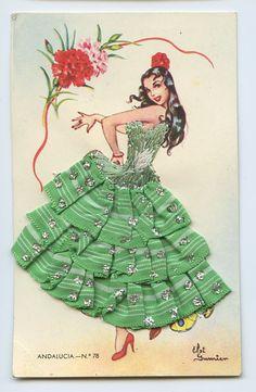 Embroidered Silk fabrics Spain Flamenco DANCE Ethnic Dress 1960s postcard i