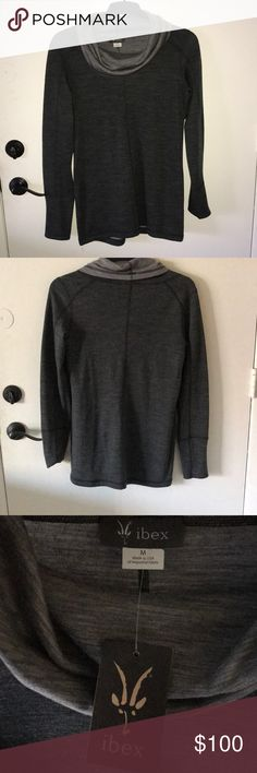 Athletic two-tone gray sweatshirt Athletic sweatshirt that would be great for the gym or yoga! Purchased from REI! ibex Sweaters Cowl & Turtlenecks