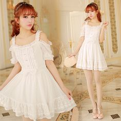 Japanese Princess Strapless Lace Wave Point Dress Free shipping