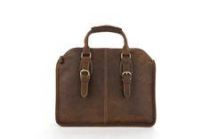 """Genuine Leather 14"""" Laptop Briefcase Mens Messenger Shoulder Computer Bag Notebook Bag"""