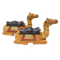 Hand-Carved Wooden Camels - A Pair