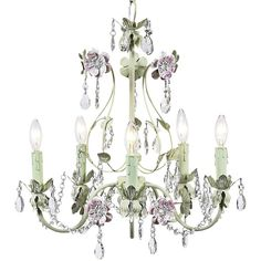 """Universal Lighting and Decor Flower Garden Pink & Green 17"""" Wide... ($478) ❤ liked on Polyvore featuring home, lighting, ceiling lights, chandelier, lamps, light fixtures, pink, flower chandelier, crystal light and green light"""