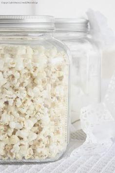 white popcorn, marshmellows, white gum balls, white m's, white gum