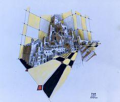 """19 /  STEFANO PETRACCI, """"DIEDRO"""", Rapidograph/china/acquarello, 22 x 19 cm."""