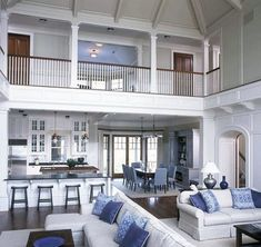 From contemporary and modern to traditional and rustic, discover the top 70 best great room ideas. Explore cool living space interior designs for your home. Coastal Living Rooms, Spacious Living Room, Living Spaces, Stairs Architecture, Style Deco, Space Interiors, Design Case, Home Interior Design, Interior Balcony