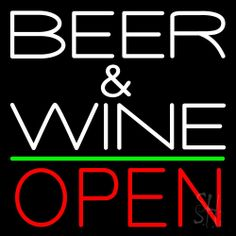 White Beer And Wine With Bottle Red Open Neon Sign 24 Tall x 24 Wide x 3 Deep, is 100% Handcrafted with Real Glass Tube Neon Sign. !!! Made in USA !!!  Colors on the sign are Red, White and Yellow. White Beer And Wine With Bottle Red Open Neon Sign is high impact, eye catching, real glass tube neon sign. This characteristic glow can attract customers like nothing else, virtually burning your identity into the minds of potential and future customers.