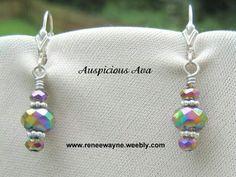 Rainbow crystal dangly earrings on sterling silver earwires www.reneewayne.weebly.com