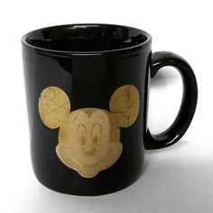 Disney Gold Mickey Mouse Dark Blue Black Ceramic Mug Cup Coffee Tea