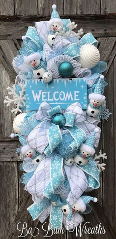 Christmas Mesh Wreath Christmas Wreath Holiday Wreath Blue