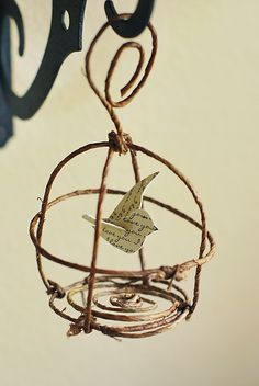 "For @Jillian Medford O'Keefe A more ""rustic"" idea for hanging around the garden. Pretty Ditty: Bird and birdcage ornament tutorial"